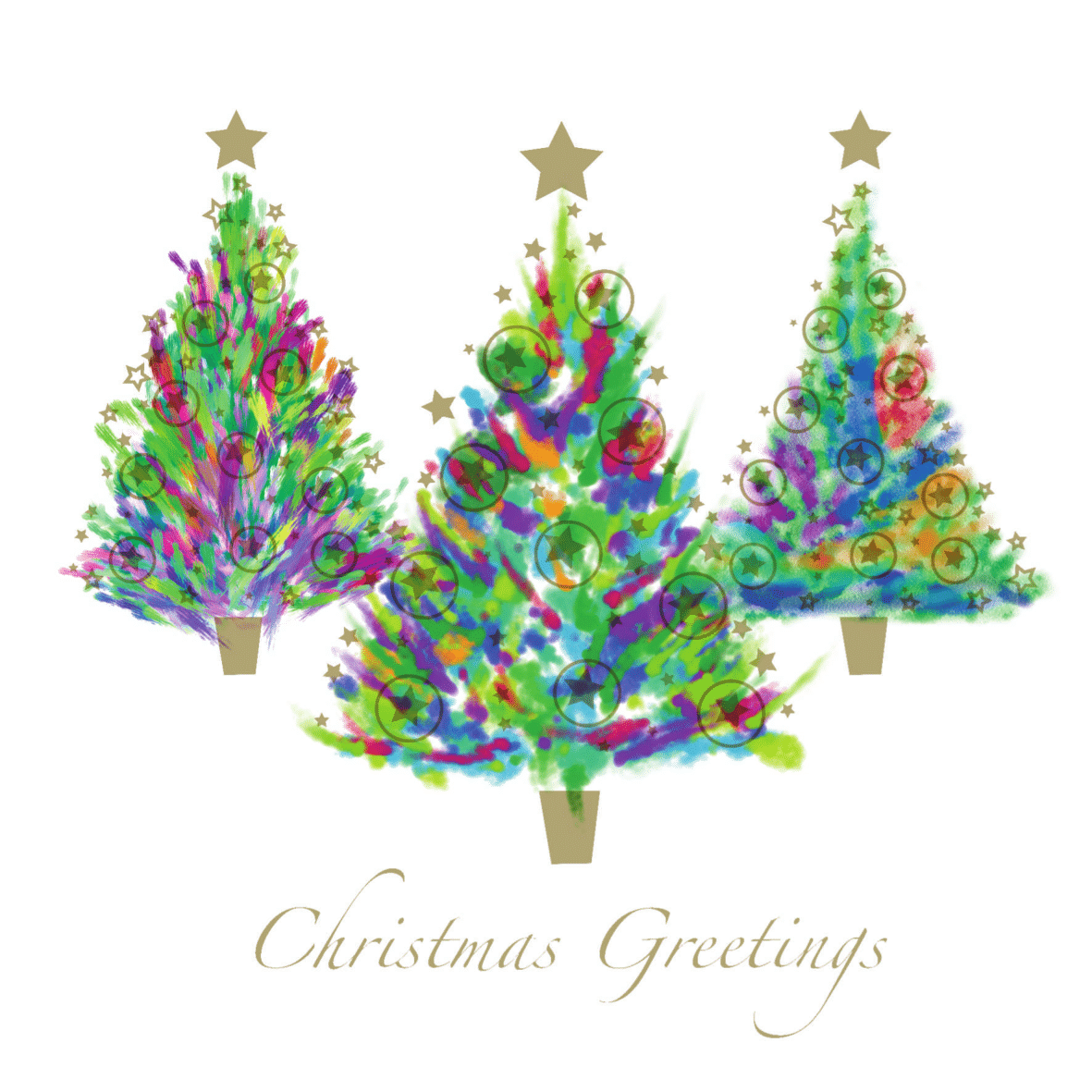 Christmas Card Design.Three Trees Pack Of 10 Christmas Cards With Envelopes